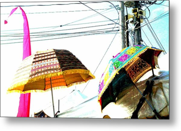 Umbrellas And Wires Metal Print