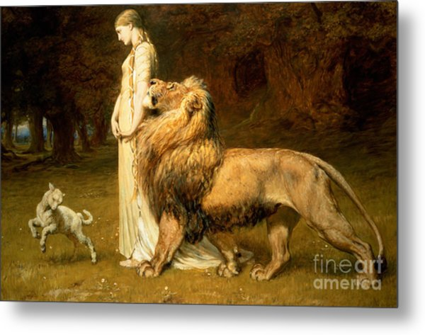 Una And Lion From Spensers Faerie Queene Metal Print