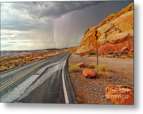 Uncertainty - Lightning Striking During A Storm In The Valley Of Fire State Park In Nevada. Metal Print