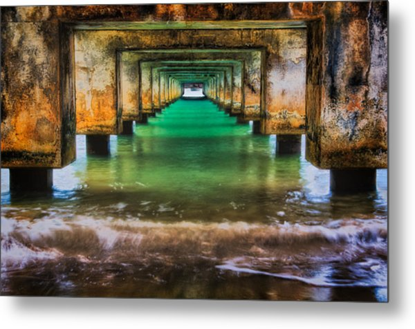 Under Hanalei Pier Metal Print