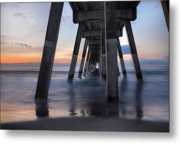 Under Johnnie Mercer's Pier Wrightsville Beach Nc Metal Print