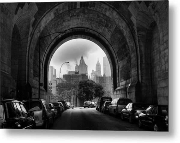 New York City - Manhattan Bridge - Under Metal Print