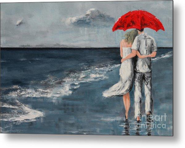 Under Our Umbrella - Modern Impressionistic Art - Romantic Scene Metal Print