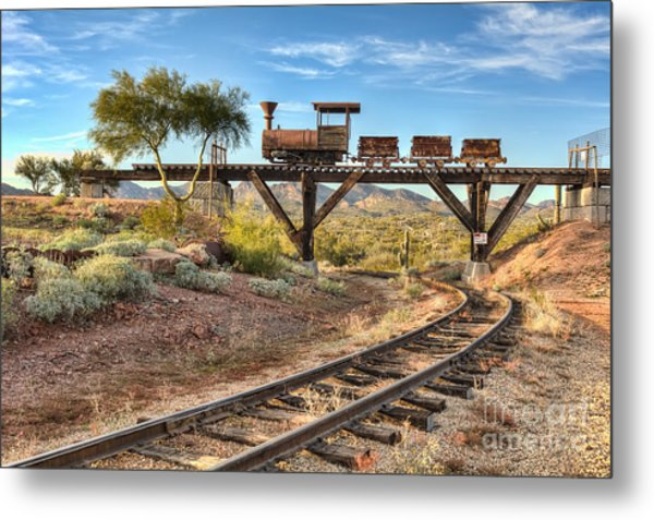 Under The Mining Cars Metal Print by Eddie Yerkish