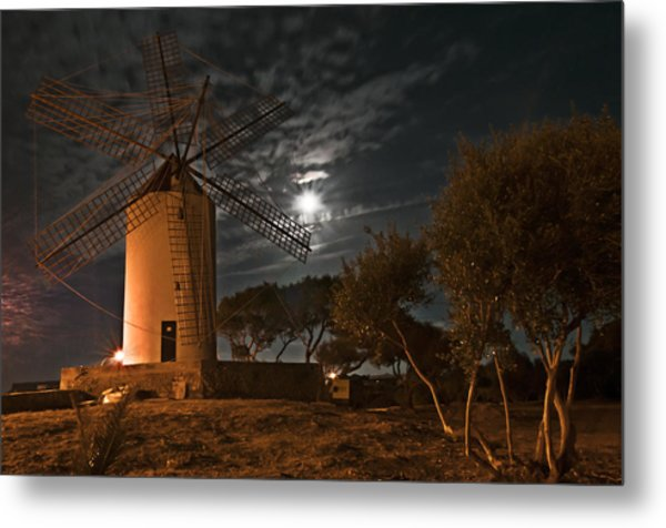 Vintage Windmill In Es Castell Villacarlos George Town In Minorca -  Under The Moonlight Metal Print