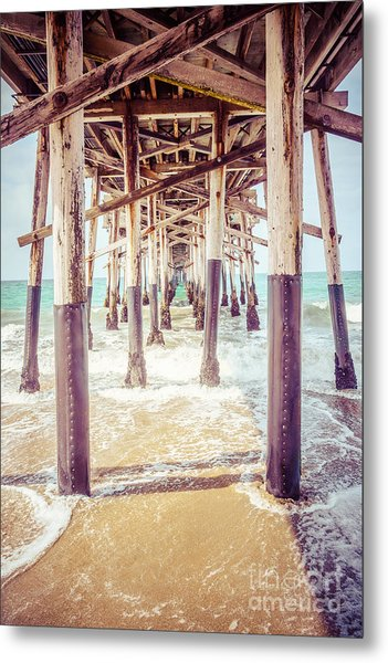 Under The Pier In Southern California Picture Metal Print