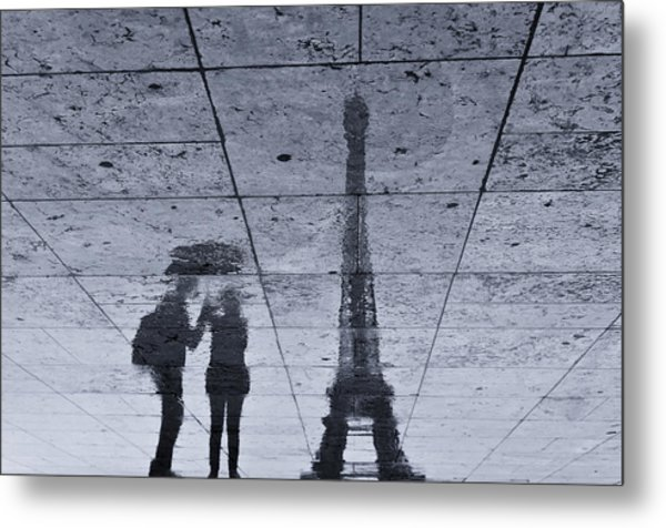 Under The Rain In Paris Metal Print