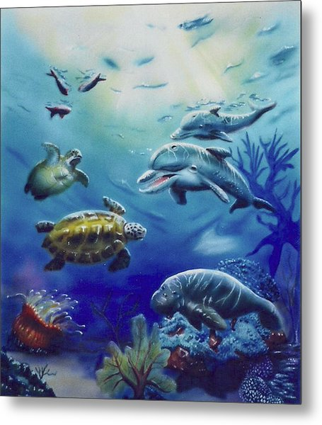 Under Water Antics Metal Print