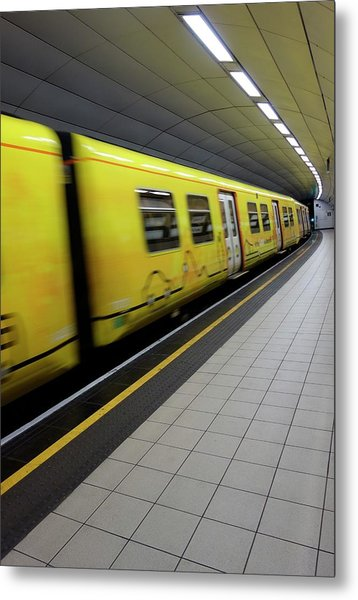 Underground Train And Platform Metal Print