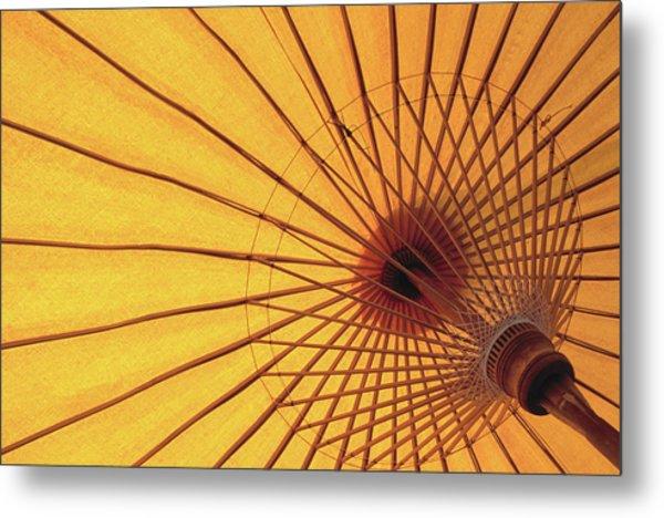 Underside Of Yellow Parasol, Symbol Of Metal Print by Antony Giblin