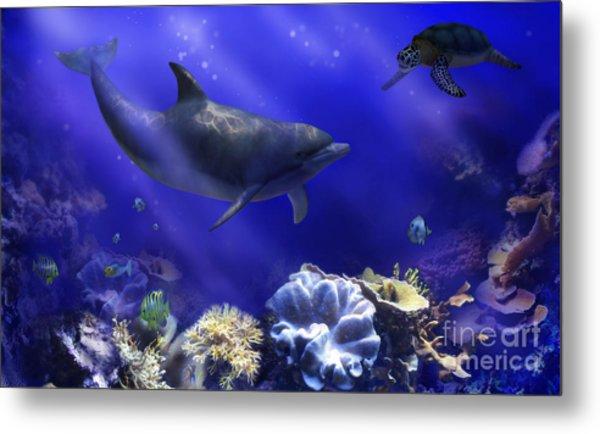 Underwater Encounter Metal Print