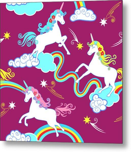 Unicorn Fantasy Pattern, Childrens Metal Print