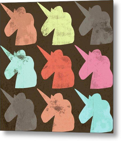 Unicorn Silhouettes I Metal Print