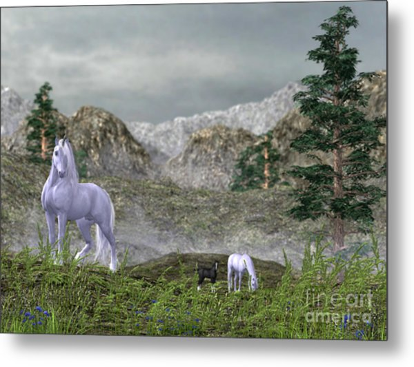 Unicorns In The Mountains Metal Print
