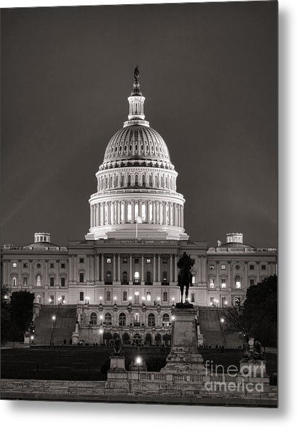 Metal Print featuring the photograph United States Capitol At Night by Olivier Le Queinec