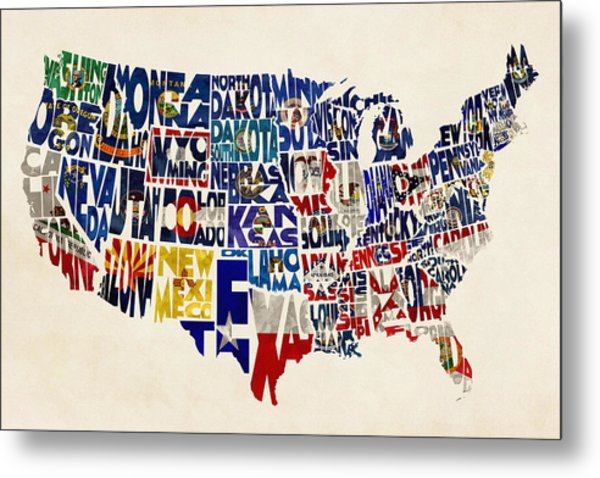 United States Flags Map Metal Print
