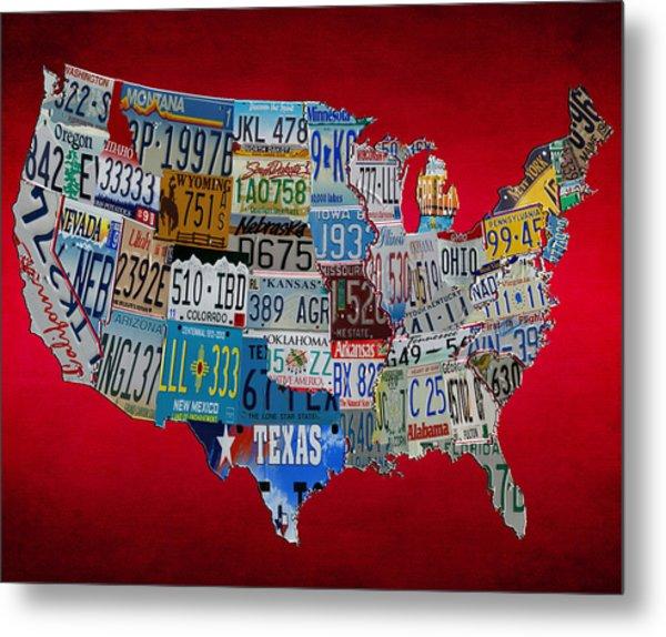 License Tag Usa Map 2r Metal Print