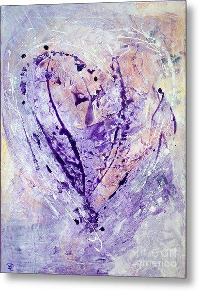 Universal Heart Pastel Purple Lilac Abstract By Chakramoon Metal Print by Belinda Capol