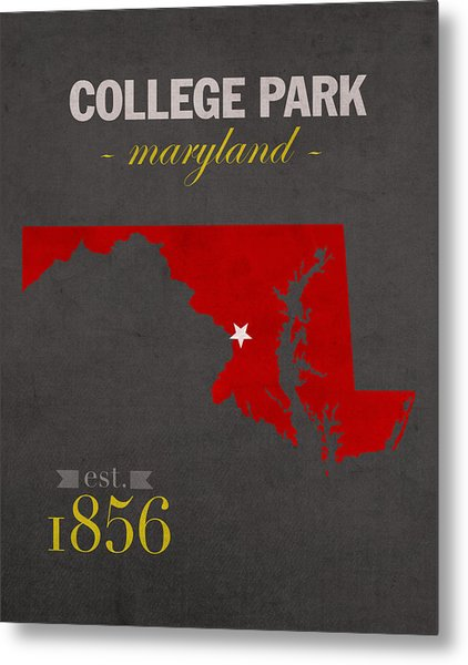 University Of Maryland Terrapins College Park College Town State Map Poster Series No 061 Metal Print