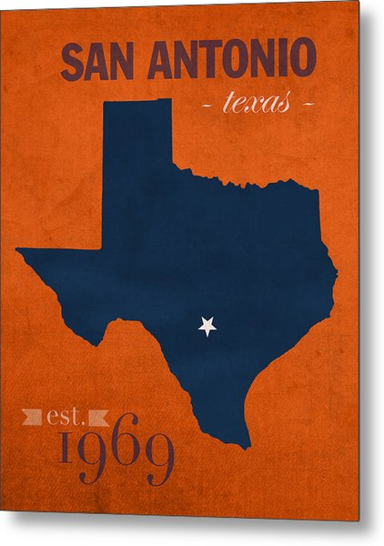 University Of Texas At San Antonio Roadrunners College Town State Map Poster Series No 111 Metal Print
