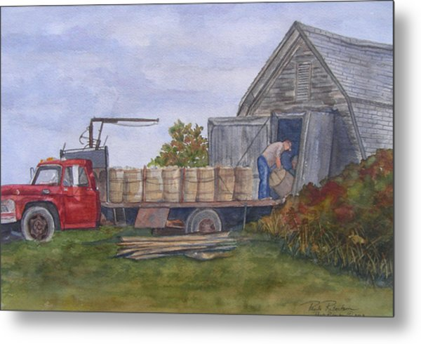 Metal Print featuring the painting Unloading At The Potato House by Paula Robertson