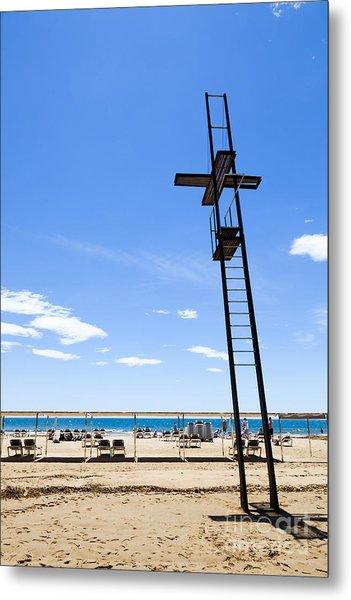 Unoccupied Lifeguard Platform On  The Beach  Metal Print