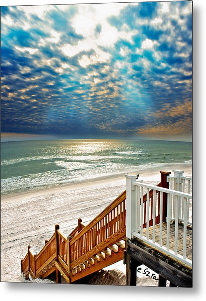 Rosemary Seaside Beach Florida Staircase White Sand Blue Clouds Art Metal Print