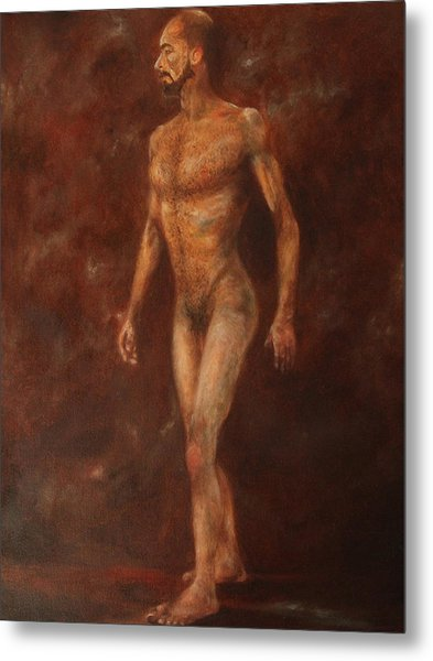 The Nude Walking Metal Print