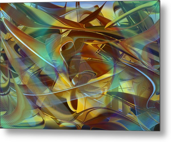 Abstract Number Fifteen In Blue Metal Print