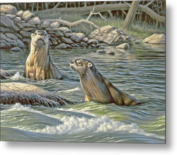 Up For Air - River Otters Metal Print