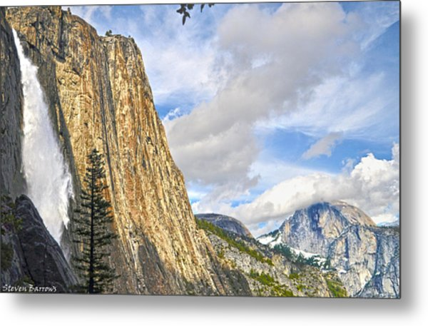 Upper Yosemite Fall And Half Dome Metal Print
