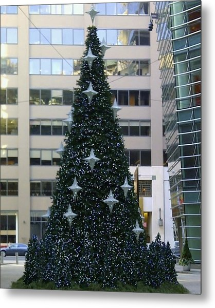 Urban Christmas Tree Metal Print