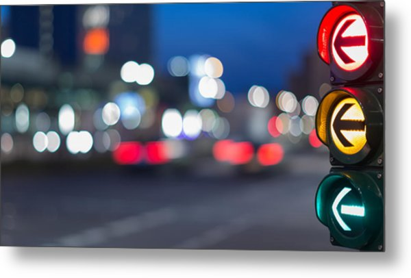 Urban City Street Szene With Colorful Traffic Lights And Bokeh Night Lights Metal Print by Matthias Makarinus
