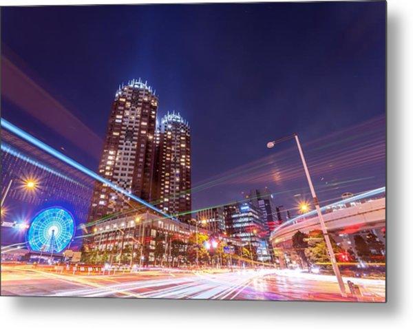 Urban Night View At Tokyo Ariake Metal Print by Photography By Zhangxun