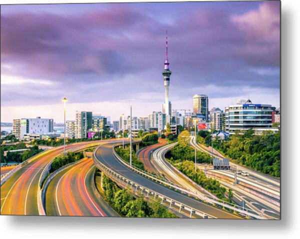 Urban Roads With Traffic Leading To Metal Print by Matteo Colombo