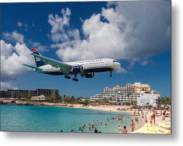 U S Airways Landing At St. Maarten Metal Print