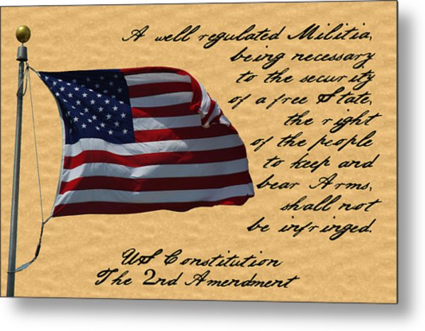 Us Constitution 2nd Amendment Flag Metal Print