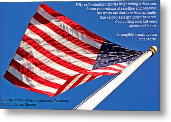 U S Flag Portrait At Chico Cemetery Metal Print