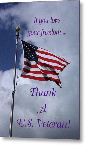 Us Flag Thank A Vet Metal Print