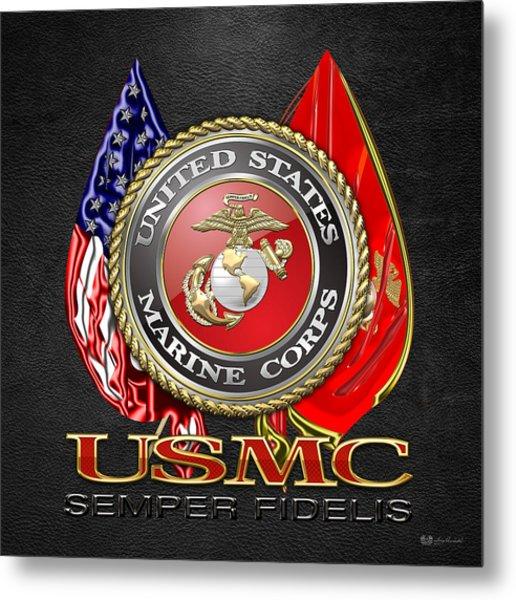 U. S. Marine Corps U S M C Emblem On Black Metal Print
