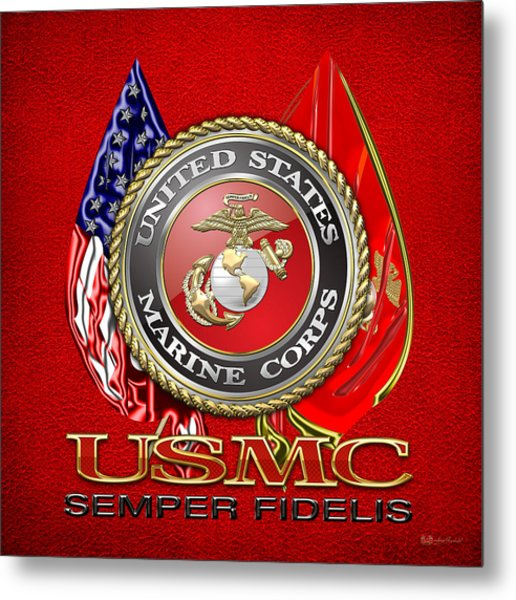 U. S. Marine Corps U S M C Emblem On Red Metal Print