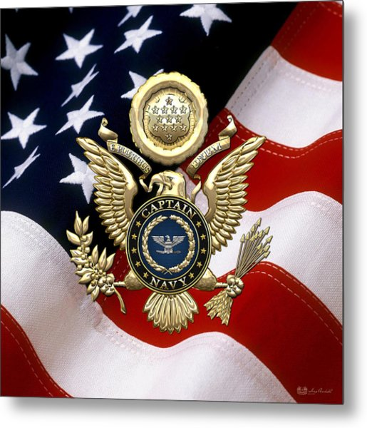 U. S.  Navy Captain - C A P T  Rank Insignia Over Gold Great Seal Eagle And Flag Metal Print