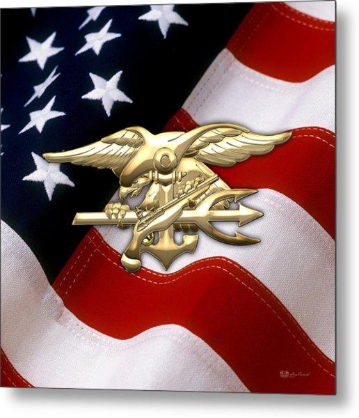 U. S. Navy S E A Ls Emblem Over American Flag Metal Print