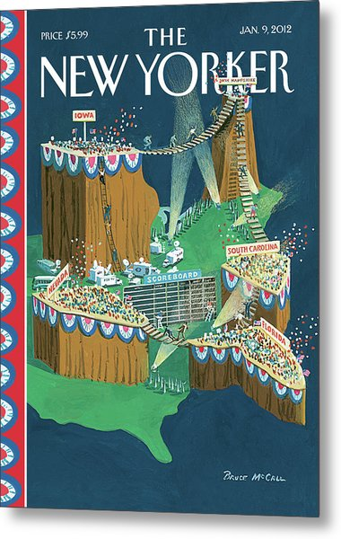 Us States Are Displayed As Grandstands Metal Print by Bruce McCall