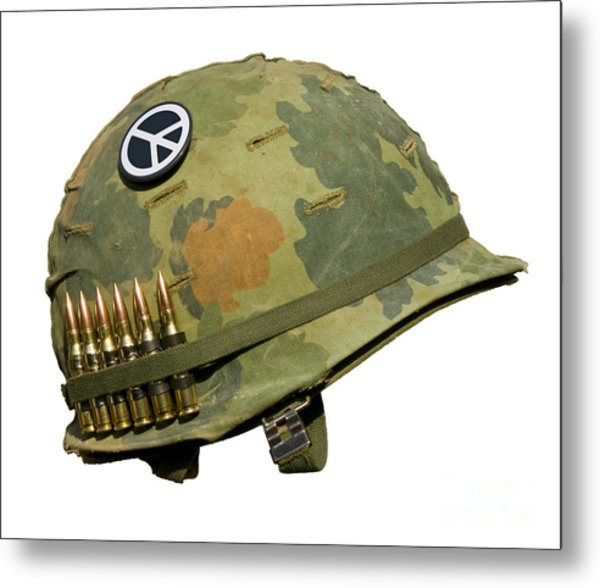 Us Vietnam War Helmet - Peace Button Metal Print