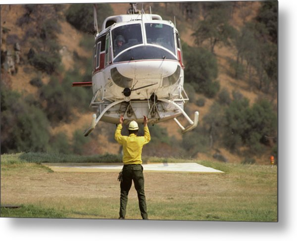 Usa, California, Fire Helicopter Metal Print