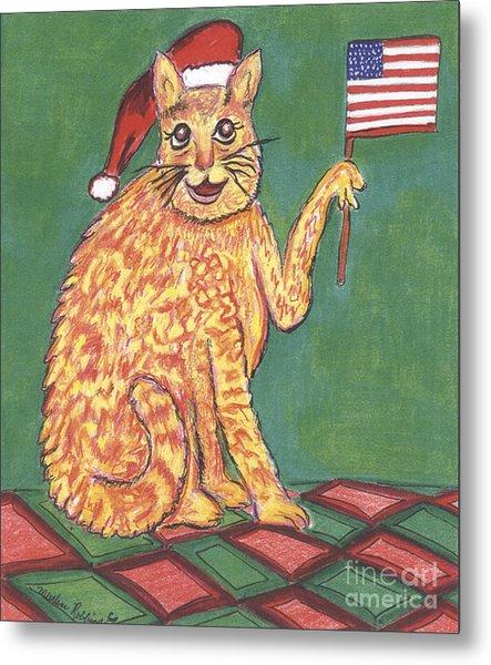Usa Flag Cat Metal Print by Marlene Robbins
