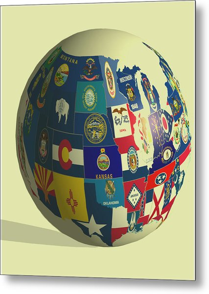 Usa Globe 2 Metal Print