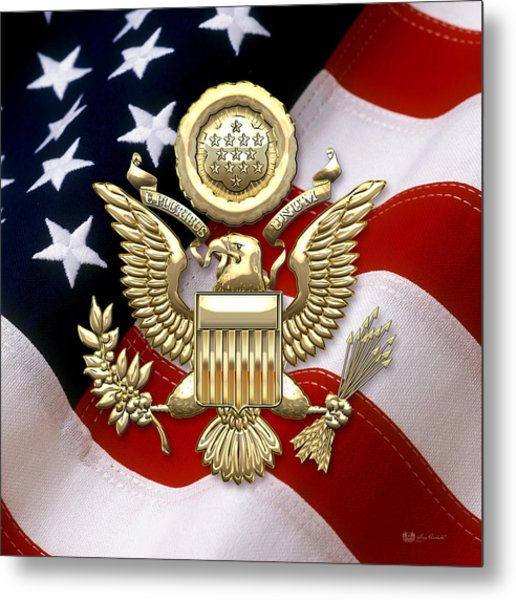 U. S. A. Great Seal In Gold Over American Flag  Metal Print