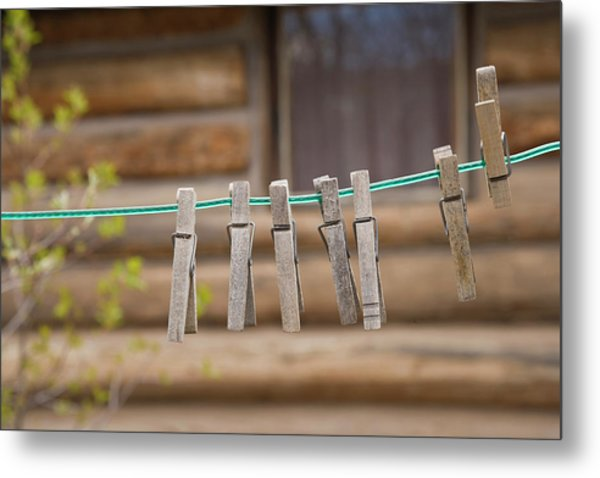 Usa, Montana Clothes Pins Metal Print
